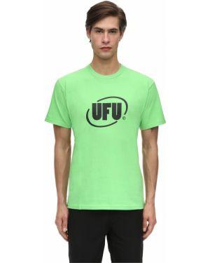 Prążkowany zielony t-shirt bawełniany Ufu - Used Future