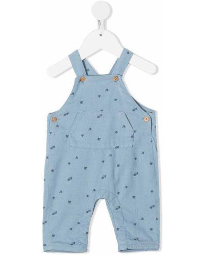 Хлопковый синий комбинезон на пуговицах с карманами Knot