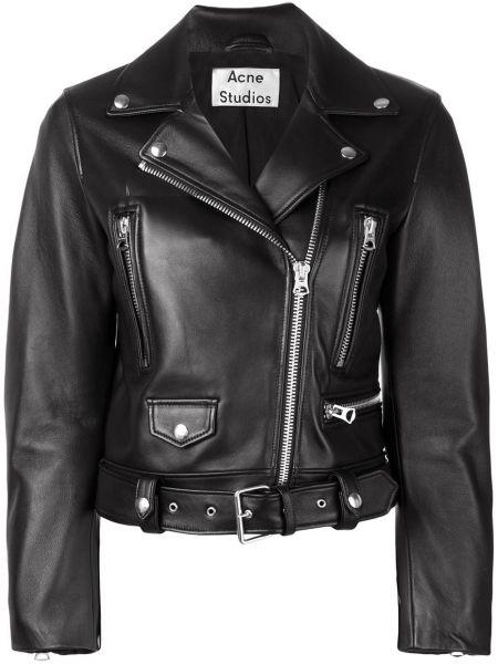 Черная кожаная куртка байкерская на молнии с лацканами Acne Studios