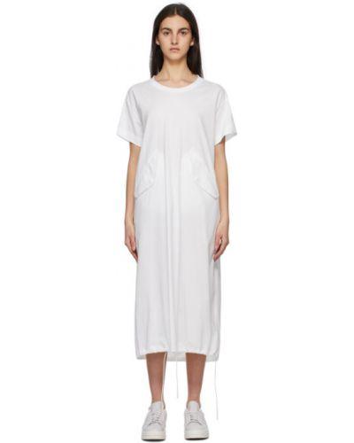 Трикотажное белое платье с короткими рукавами Y-3