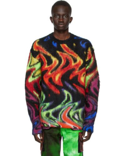 Черный длинный свитер из мохера с воротником Agr
