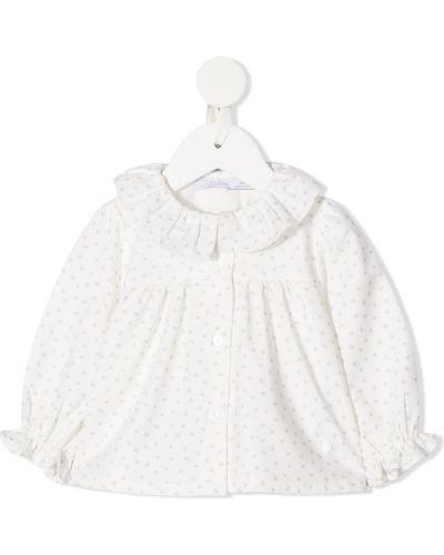 Хлопковая с рукавами белая блуза с манжетами Patachou