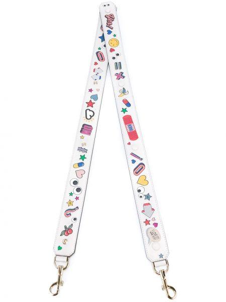Кожаный белый ремень с декоративной отделкой Anya Hindmarch
