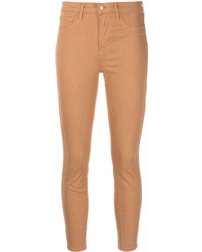 Облегающие хлопковые коричневые укороченные брюки L'agence