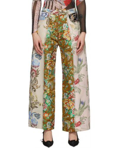 Хлопковые бежевые брюки с карманами Marques Almeida
