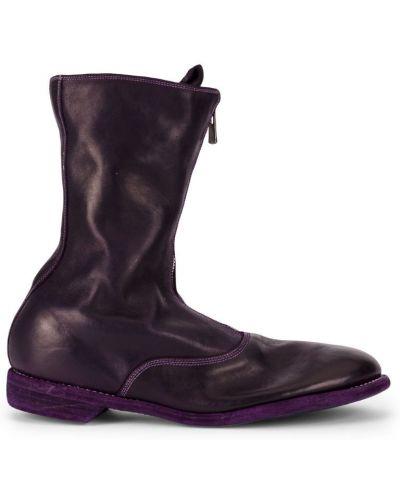 Фиолетовые кожаные ботинки Guidi