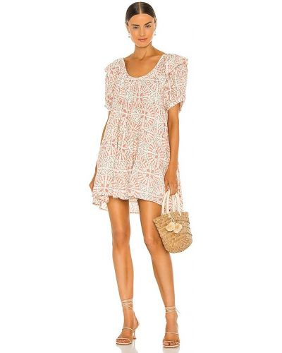 Sukienka mini bawełniana zapinane na guziki z printem Cleobella
