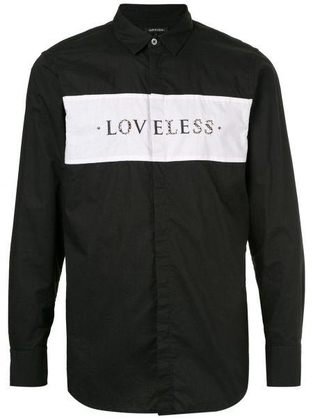 Czarna koszula bawełniana z długimi rękawami Loveless
