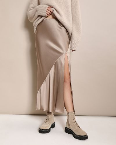Шелковая кофейная юбка с разрезом 12storeez