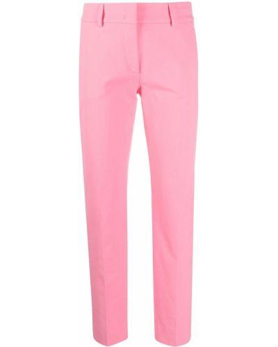 Różowe spodnie bawełniane z paskiem Piazza Sempione