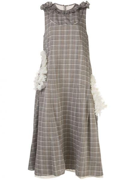 Серое платье миди с оборками с воротником с вырезом Renli Su