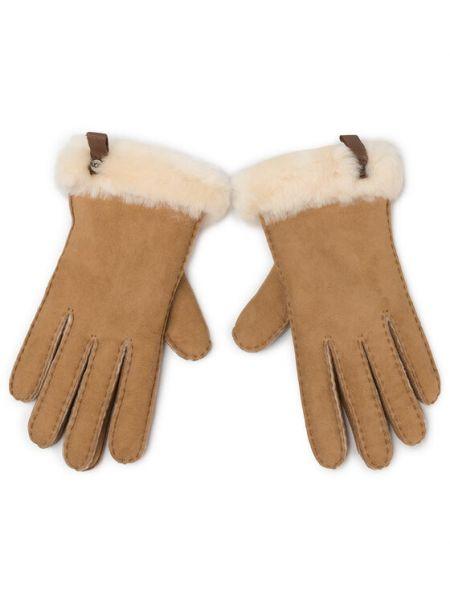 Brązowe rękawiczki skorzane Ugg