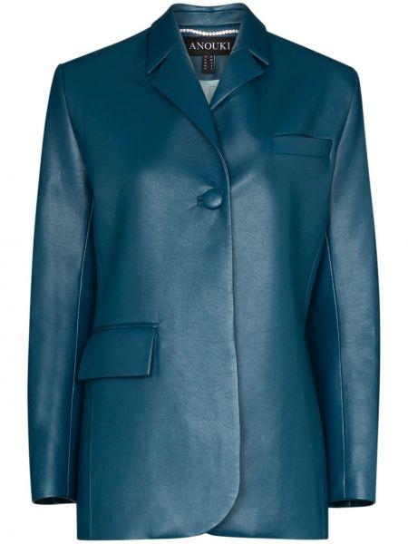 Кожаный синий пиджак с карманами на пуговицах Anouki
