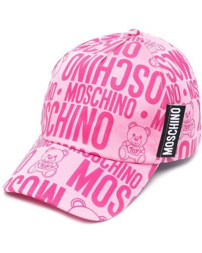 Хлопковая розовая бейсболка Moschino Kids