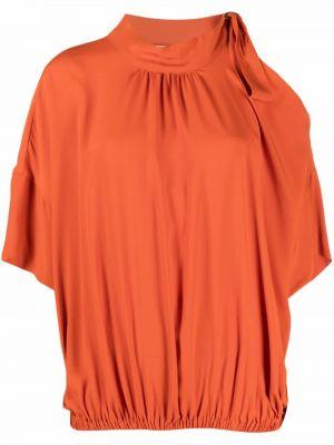 Блузка с открытыми плечами - оранжевая Semicouture