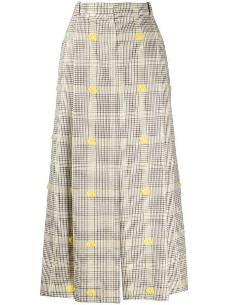 С завышенной талией юбка миди с бахромой с разрезом с поясом Nina Ricci