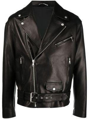 Czarna długa kurtka skórzana z długimi rękawami Palm Angels