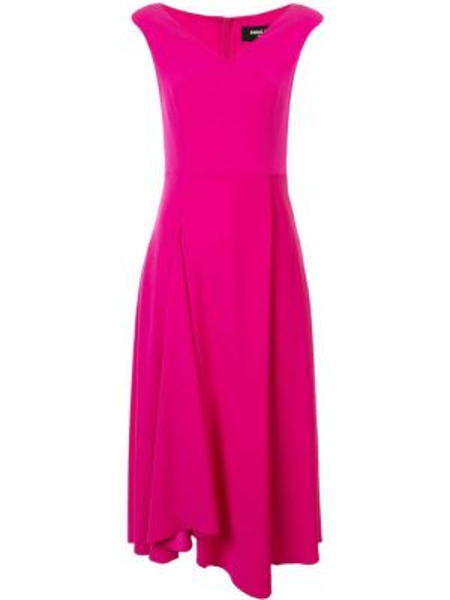 Расклешенное розовое платье с V-образным вырезом на молнии Paule Ka