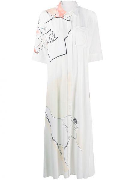 Biała klasyczna sukienka długa z wiskozy Each X Other