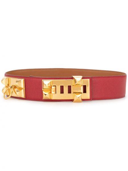 Красный кожаный ремень с заклепками Hermès