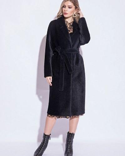Шерстяное черное длинное пальто с воротником Electrastyle