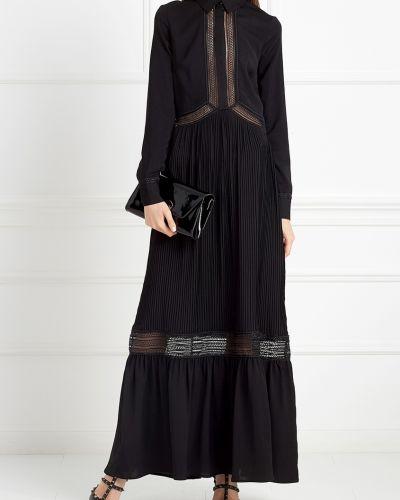 Платье макси со вставками черное Self-portrait