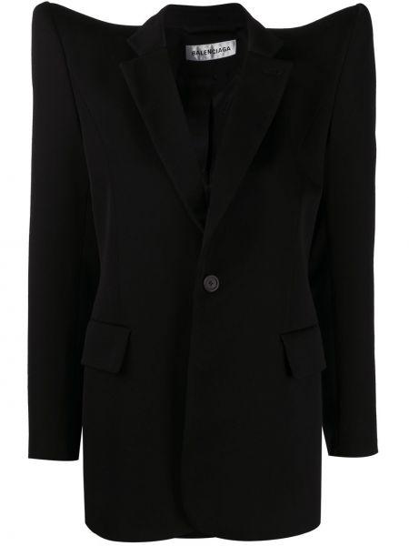 Czarny długa kurtka z mankietami z kieszeniami z długimi rękawami Balenciaga