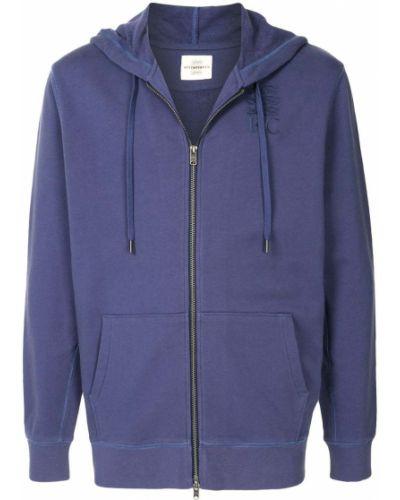 Хлопковая фиолетовая толстовка на молнии с капюшоном в рубчик Kent & Curwen