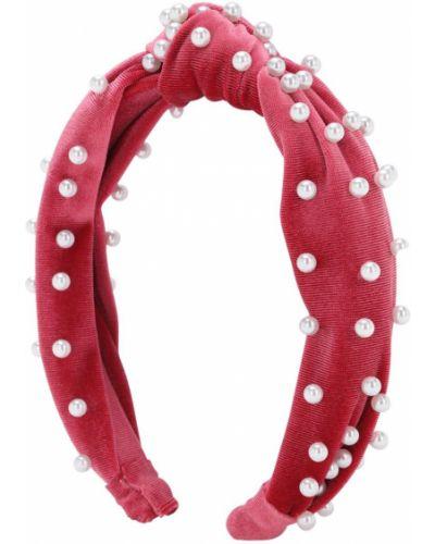 Różowy aksamit opaska na głowę z perłami Monnalisa
