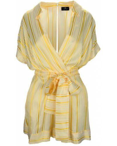 Żółty kombinezon krótki w paski krótki rękaw Elisabetta Franchi
