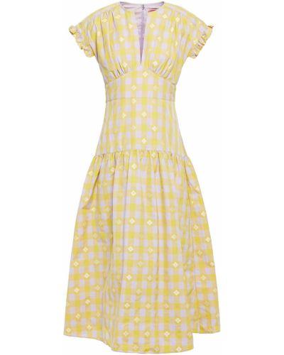 Расклешенное желтое кружевное платье миди Kate Spade New York