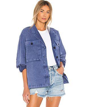Синяя облегченная куртка с манжетами на пуговицах Anine Bing