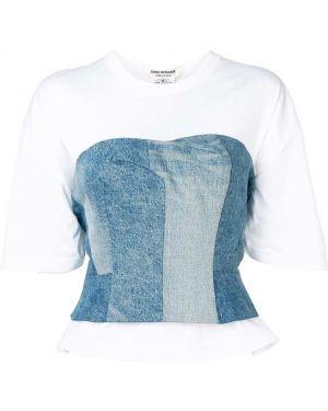 Biały t-shirt bawełniany krótki rękaw Junya Watanabe