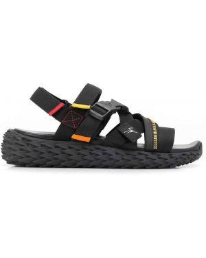 Czarne sport sandały skorzane peep toe Giuseppe Zanotti