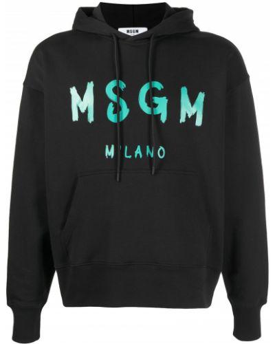 Czarna bluza długa z kapturem z długimi rękawami Msgm