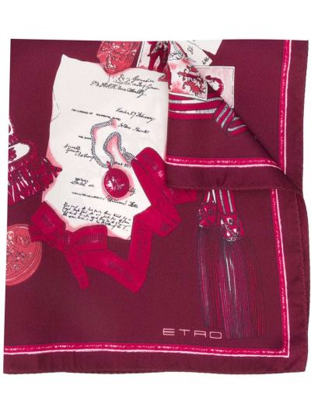 Fioletowy szalik z jedwabiu z printem Etro