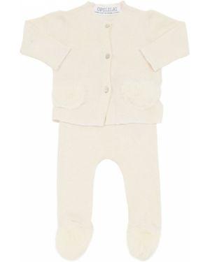 Prążkowane białe legginsy bawełniane Opililai