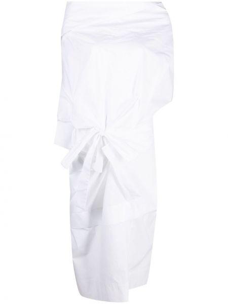 Хлопковое белое платье миди с драпировкой Vivienne Westwood