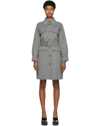Кожаное длинное пальто с воротником с карманами Fendi
