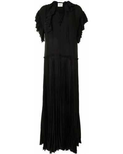 Черное платье мини с короткими рукавами с оборками Khaite