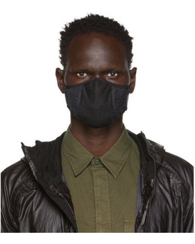 Czarny maska do twarzy siatkowaty z łatami C.p. Company