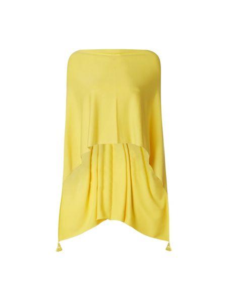 Żółty ponczo z wiskozy z frędzlami Comma