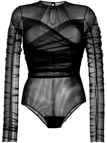 Czarny body z długimi rękawami tiulowy Brognano