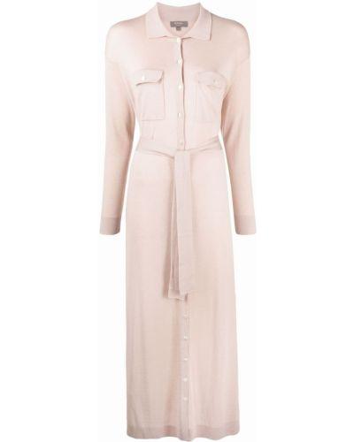 Прямое шелковое платье макси с воротником N.peal