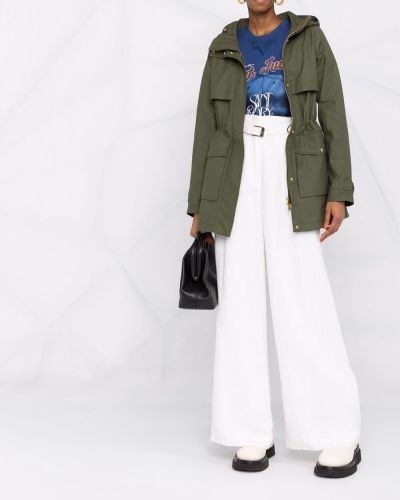Зеленое длинное пальто Woolrich
