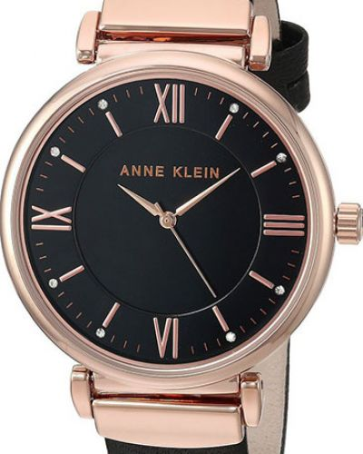 Часы на кожаном ремешке кварцевые водонепроницаемые Anne Klein