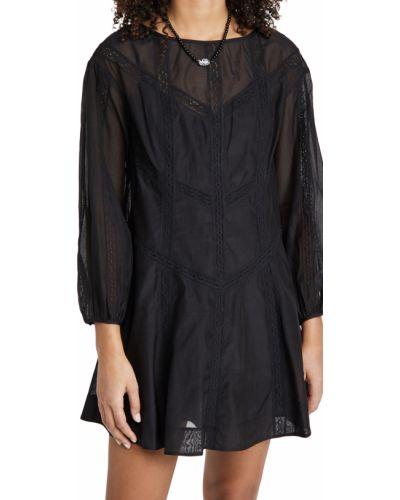 Кружевное черное платье макси с длинными рукавами Rebecca Taylor