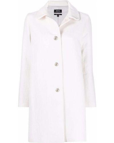 Белое шерстяное длинное пальто с воротником A.p.c.