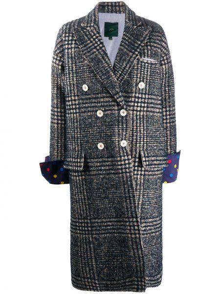 Шерстяное черное длинное пальто с воротником Jejia
