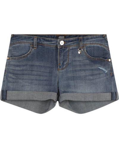 Джинсовые шорты с отворотами с заниженной талией Armani Junior